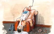 Ken drinkt melk. Poster Colour en potlood op papier