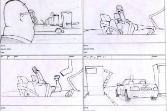 Storyboard Nulbijtelling. 2010 - Potlood op papier. In opdracht van McCloud Online Idiots