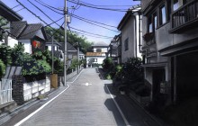Straat in Tokio. Poster Colour op Papier